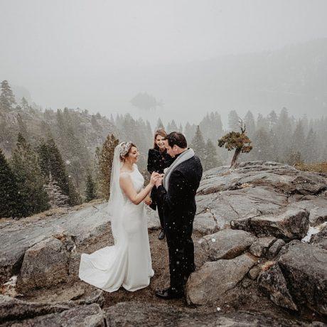 Snowy Lake Tahoe Elopement: Jessica + Alexis